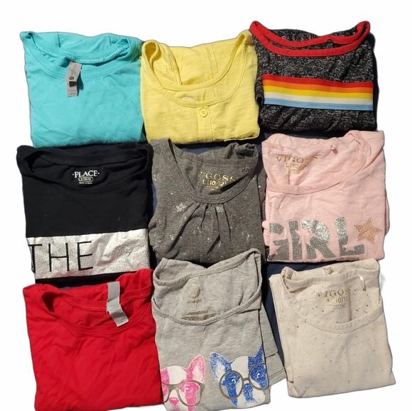 Girls bundle of (11) top tshirts & shirts size 10